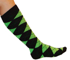 Black/Neon Green Argyle