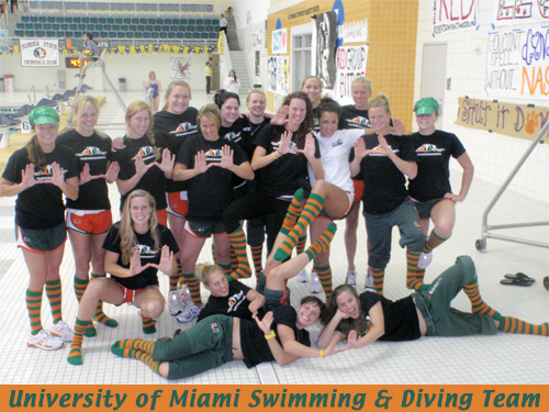 University of Miami Swim/Dive Team Wearing Knee High Socks
