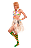hula girl green orange striped knee socks