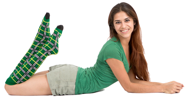 green plaid socks