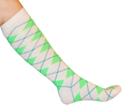 White and Neon Green Argyle Knee Socks