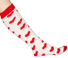 White/Red Heart Socks