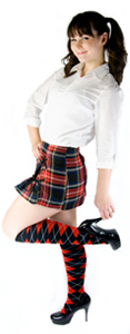 argyle socks, skirt, white shirt outfit