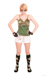 army girl wearing green camo knee socks