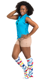 autism puzzle knee highs, blue top and brown shorts