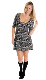 black aztec dress and thin solid black knee high socks