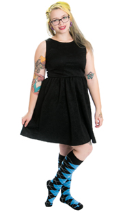 black dress and long argyle socks