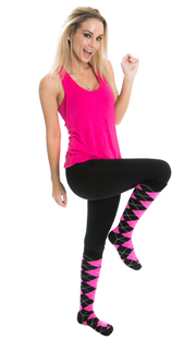 black leggings, pink top and pink argyle knee socks