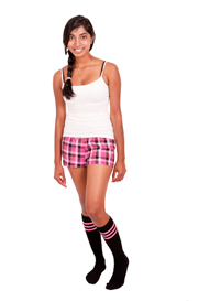 Black Tube knee socks with Dark Pink stripes