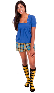 black and yellow argyle knee socks