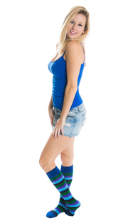 blonde girl with jean shorts, blue top and blue rainbow socks