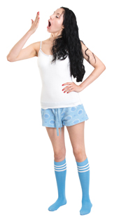blue pjs, white top and light blue tube socks