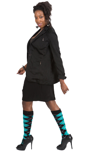 black - teal argyle socks