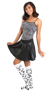 cheetah print socks with skirt, tank top and high socks