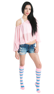 jean shorts, pink top and striped cotton candy socks
