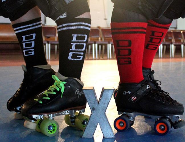 Derby Girls wearing Chrissy's Socks