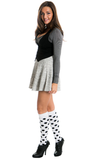 cute dress with black white spotted knee highs