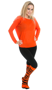 funky orange tiger knee high socks and leggings