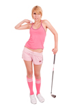 Golfer costume with pink knee socks