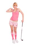 Golfer costume with pink knee socks