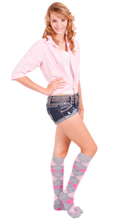Grey/Light Pink/Neon Pink Argyle Knee SocksGrey/Light Pink/Neon Pink Argyle Knee Socks