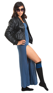 long dress, leather jacket and royal blue striped tube socks