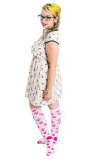 cute kitty kat dress and pink paw knee hi socks