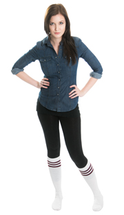 black leggings, jean shirt and vintage tube socks