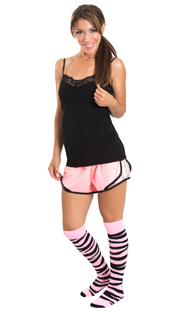 pink workout shorts and funky pink knee highs
