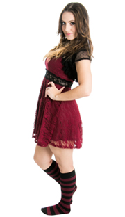6462694ad ... stunning maroon dress and striped knee high socks ...