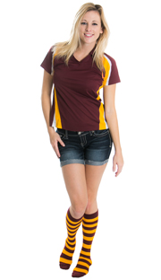 school girl wearing maroon and gold striped socks
