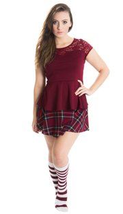 plaid school girl skirt and striped maroon high socks