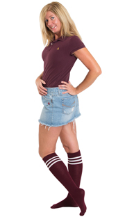 jean skirt, maroon top and maroon school tube socks