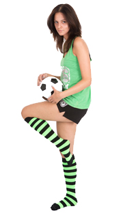black neon green striped socks