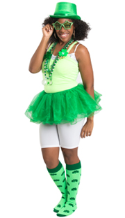 Neon St. Patty's Day Shamrock Socks and skirt, hat and glasses