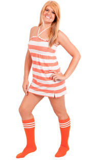 Orange tube socks with white stripes
