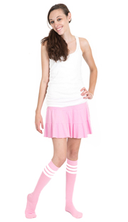 light pink tube white stripe socks