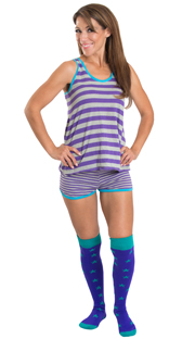 striped pjs with teal/purple high socks