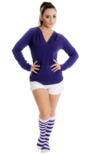 woman wearing purple hoodie and striped socks