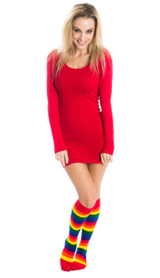 hot red dress and rainbow striped socks