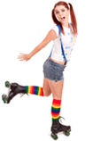 skater girl Rainbow Knee Socks