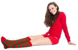 red green striped socks
