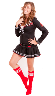 Red tube socks with white stripes
