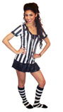 referee wearing black/white striped knee socks