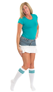 teal striped tube socks