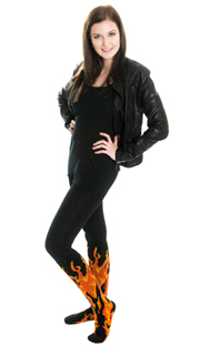 black leggings, leather jacket and fire knee socks