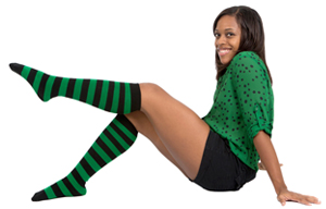 striped black/green socks