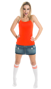 girl wearing jean skirt and striped orange knee socks