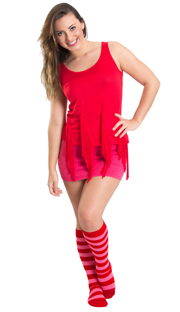 pink shorts, red top and striped knee high socks