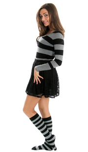 striped black/gray sweater, black skirt and matching knee socks